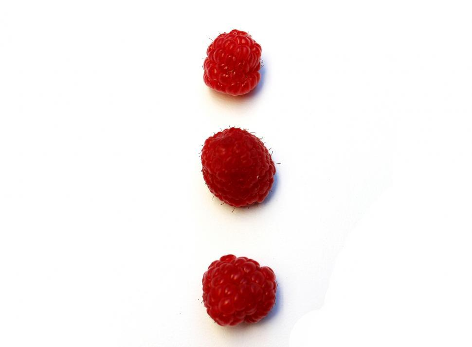Download Free Stock Photo of Raspberries on white background