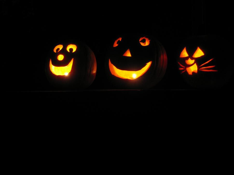 Download Free Stock HD Photo of Halloween pumpkins at night 2 Online