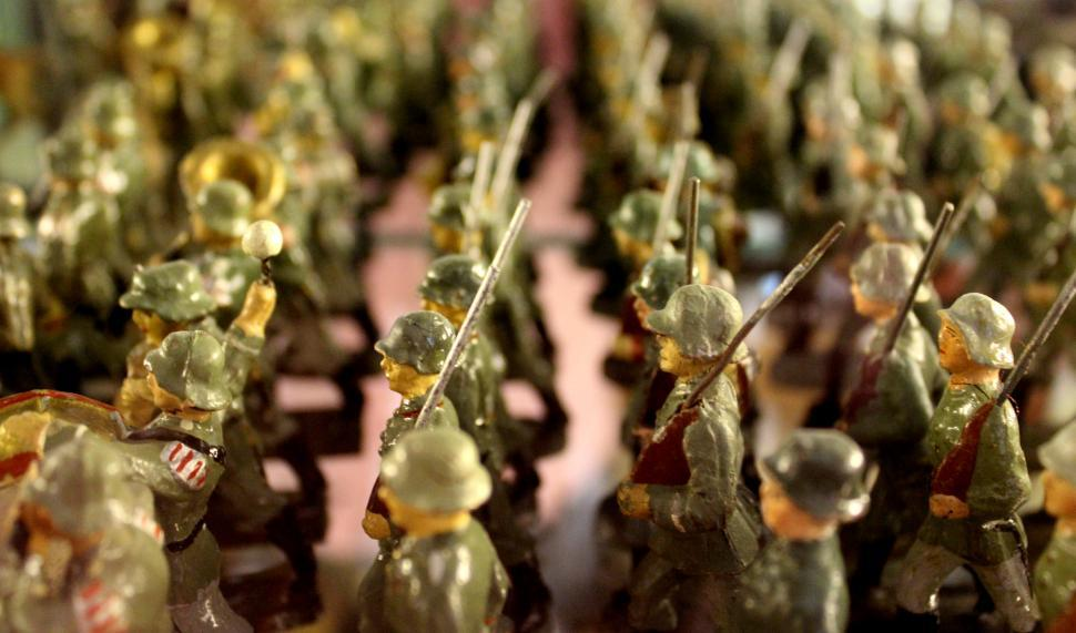Download Free Stock HD Photo of Vintage Toys - Nazi Tin Soldiers Close-up Online