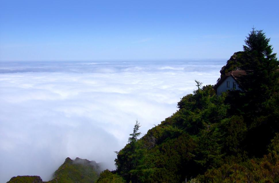 Download Free Stock Photo of Mountain Cabin Above the Clouds
