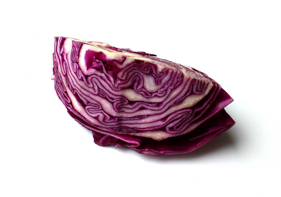 Download Free Stock HD Photo of A slice of red cabbage on white Online