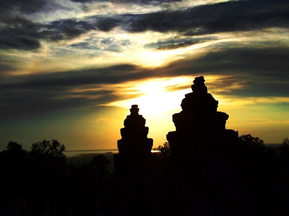 Download Free Stock Photo of Sunset at Angkor Wat - Cambodia