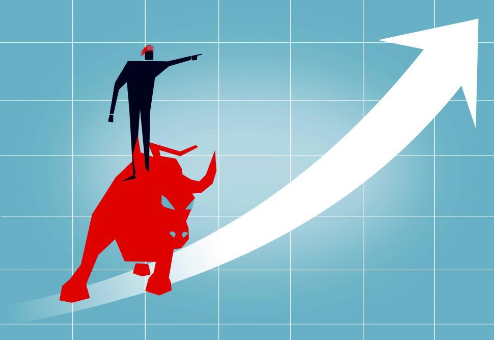 Download Free Stock Photo of Riding the Wall Street Bull - Arrow Up