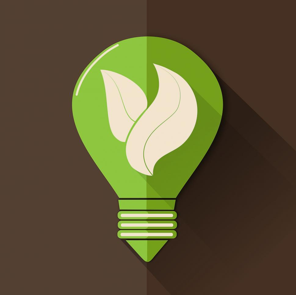Download Free Stock Photo of Green Lightbulb with Leaves
