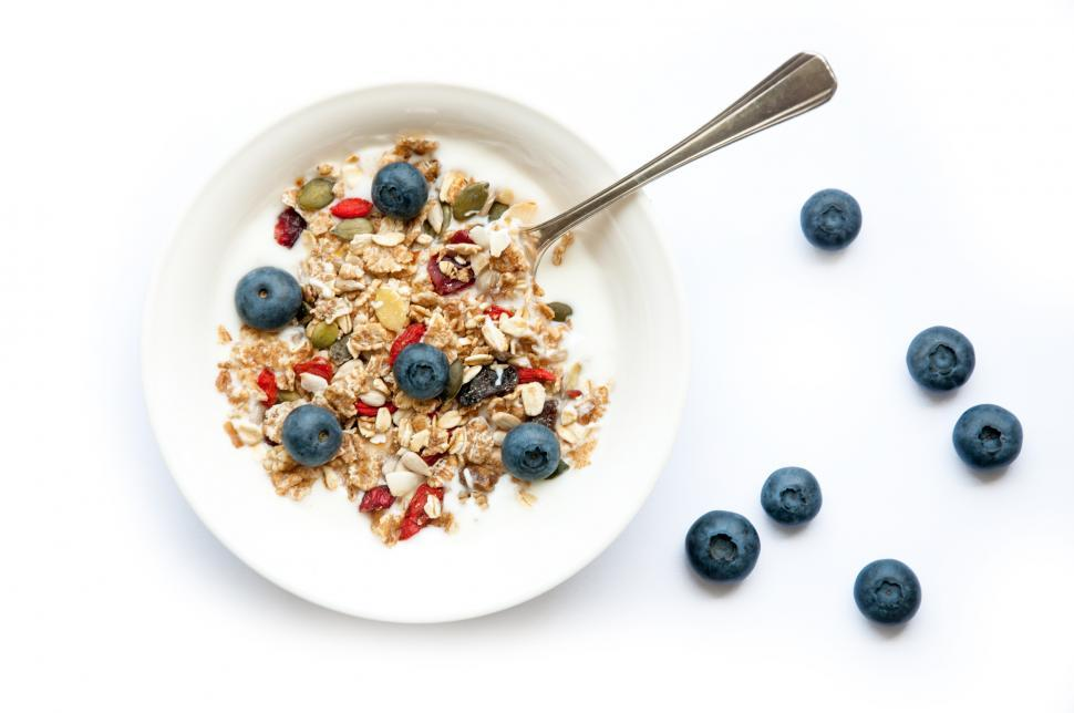 Download Free Stock HD Photo of yogurt with superfood granola and blueberries Online