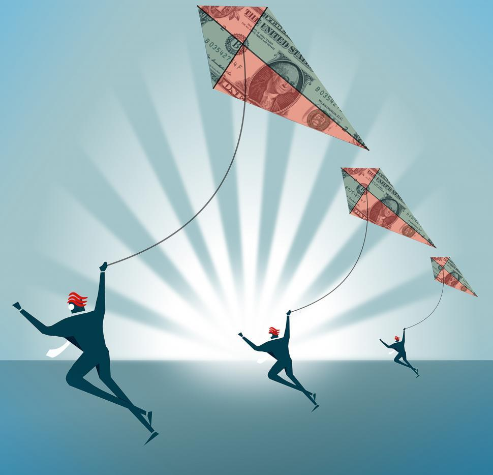 Download Free Stock Photo of Forex traders with Dollar Kites