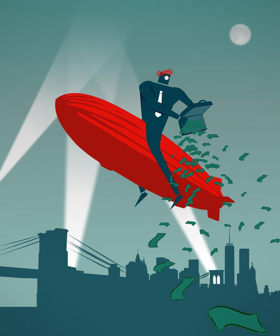 Download Free Stock Photo of Businessman pouring money over Manhattan on a Zeppelin