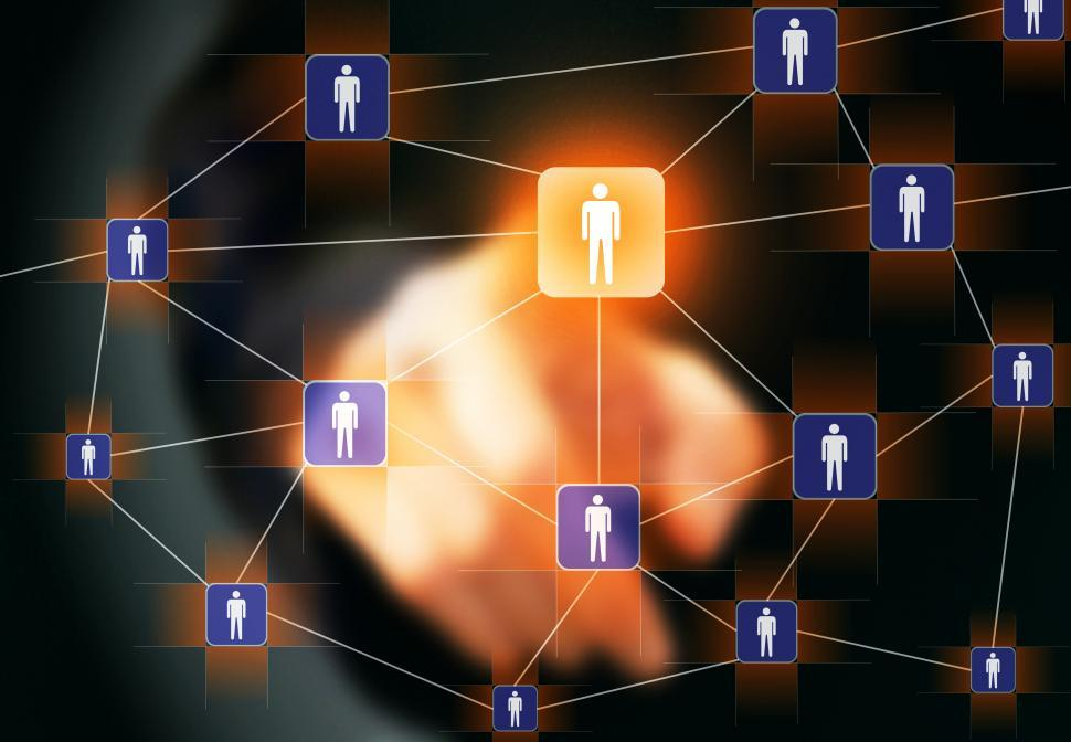 Download Free Stock Photo of Businessman touching virtual social network