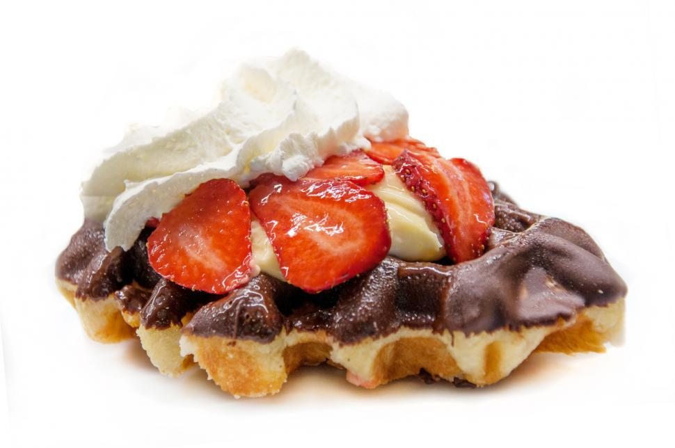 Download Free Stock HD Photo of waffle with strawberries and whipped cream Online