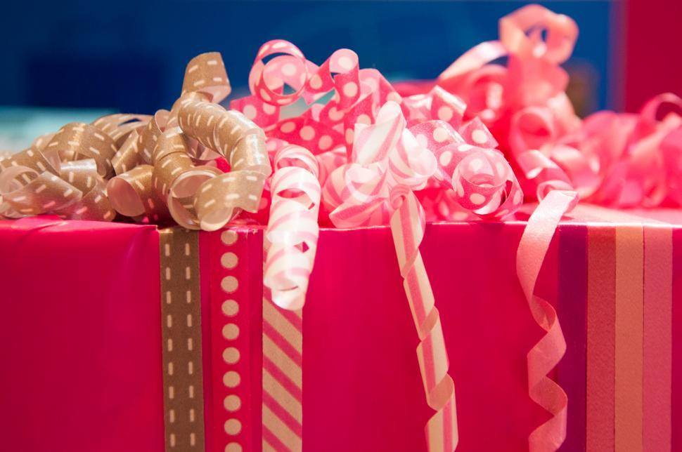 Download Free Stock Photo of gift wrapping with ribbons