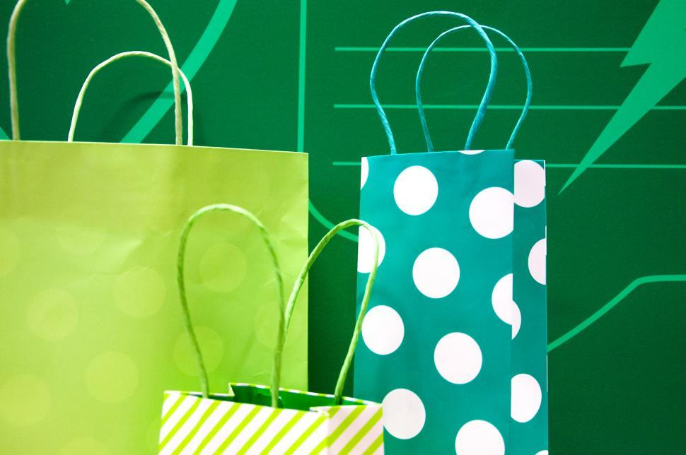 Download Free Stock Photo of gift bags green