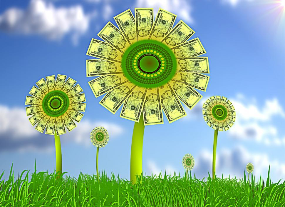 Download Free Stock HD Photo of Sunflowers with dollar bills - Asset growth concept Online