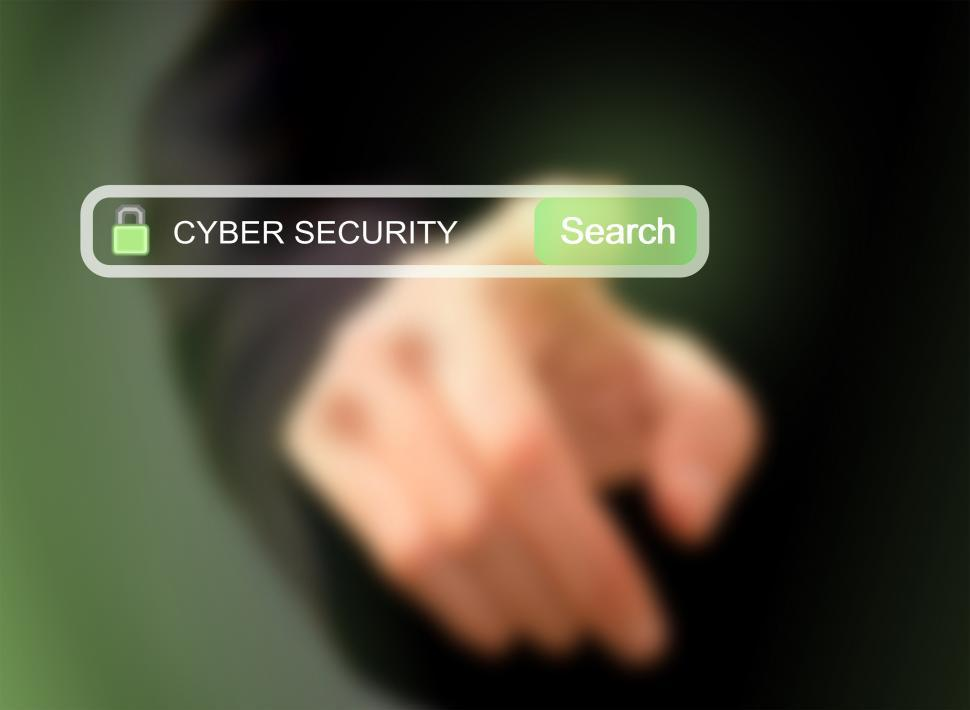 Download Free Stock Photo of Businessman pressing cybersecurity search button on a virtual sc
