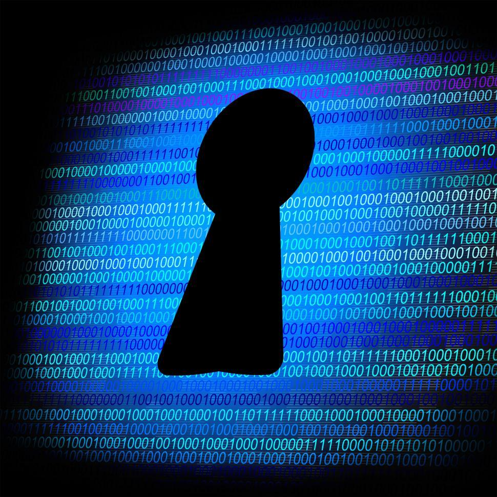 Download Free Stock Photo of Security concept - Keyhole on a digital screen