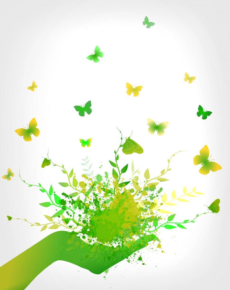 Download Free Stock Photo of Think Green Concept - Splashes and Butterflies on Hand