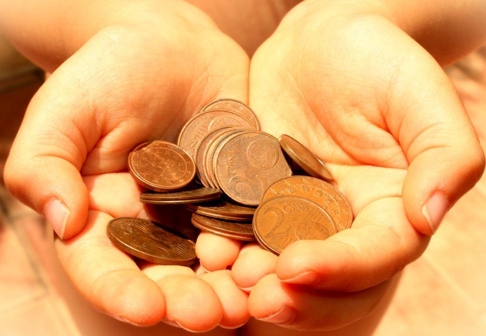 Download Free Stock Photo of Hands showing euro coins