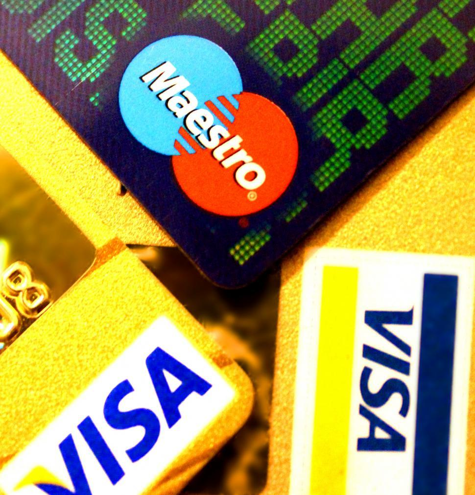 Download Free Stock HD Photo of Credit and Debit Cards Closeup - Visa and Maestro. Editorial use Online
