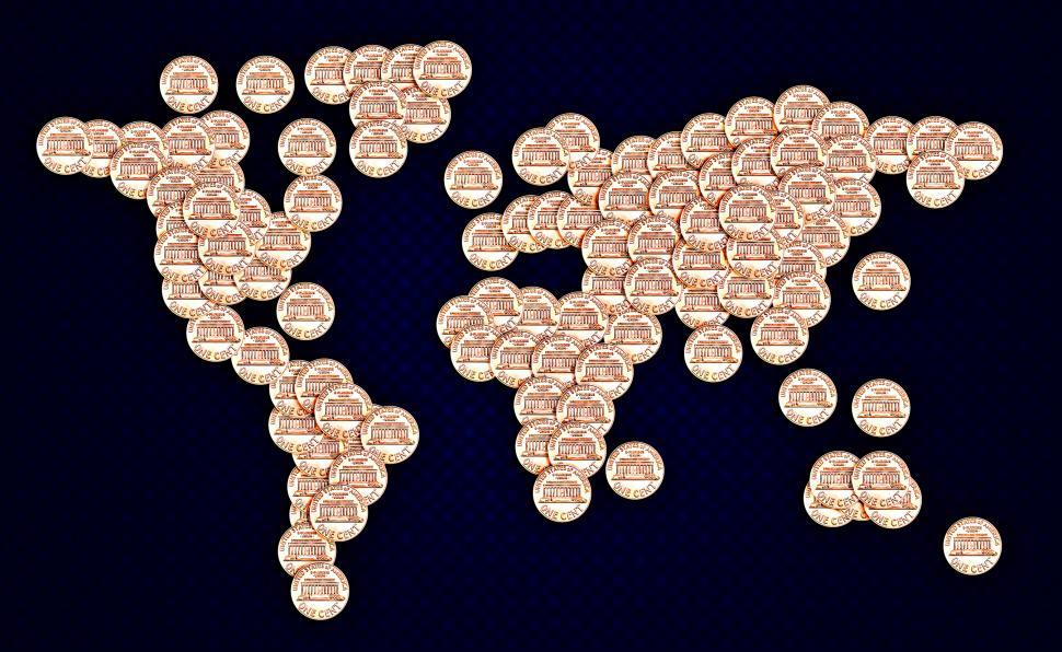Download Free Stock Photo of World map made of US cent coins