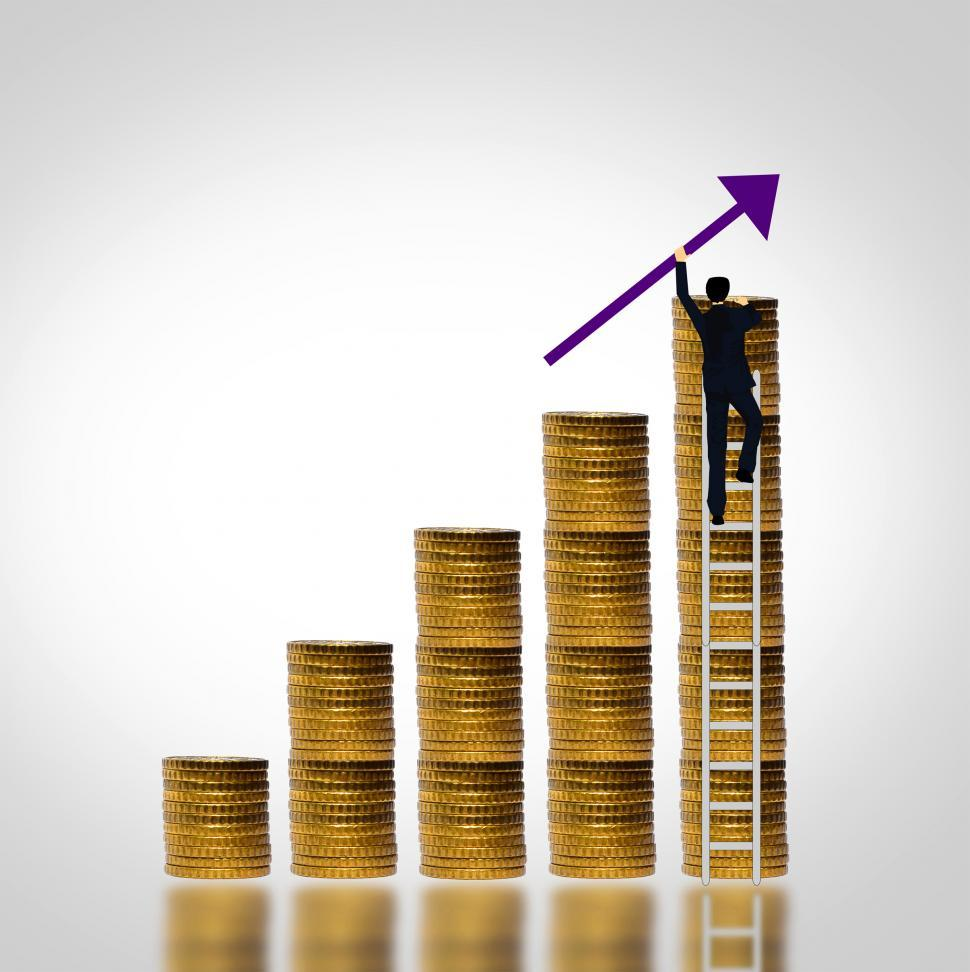 Download Free Stock Photo of Man climbing coin stack - Money growth concept