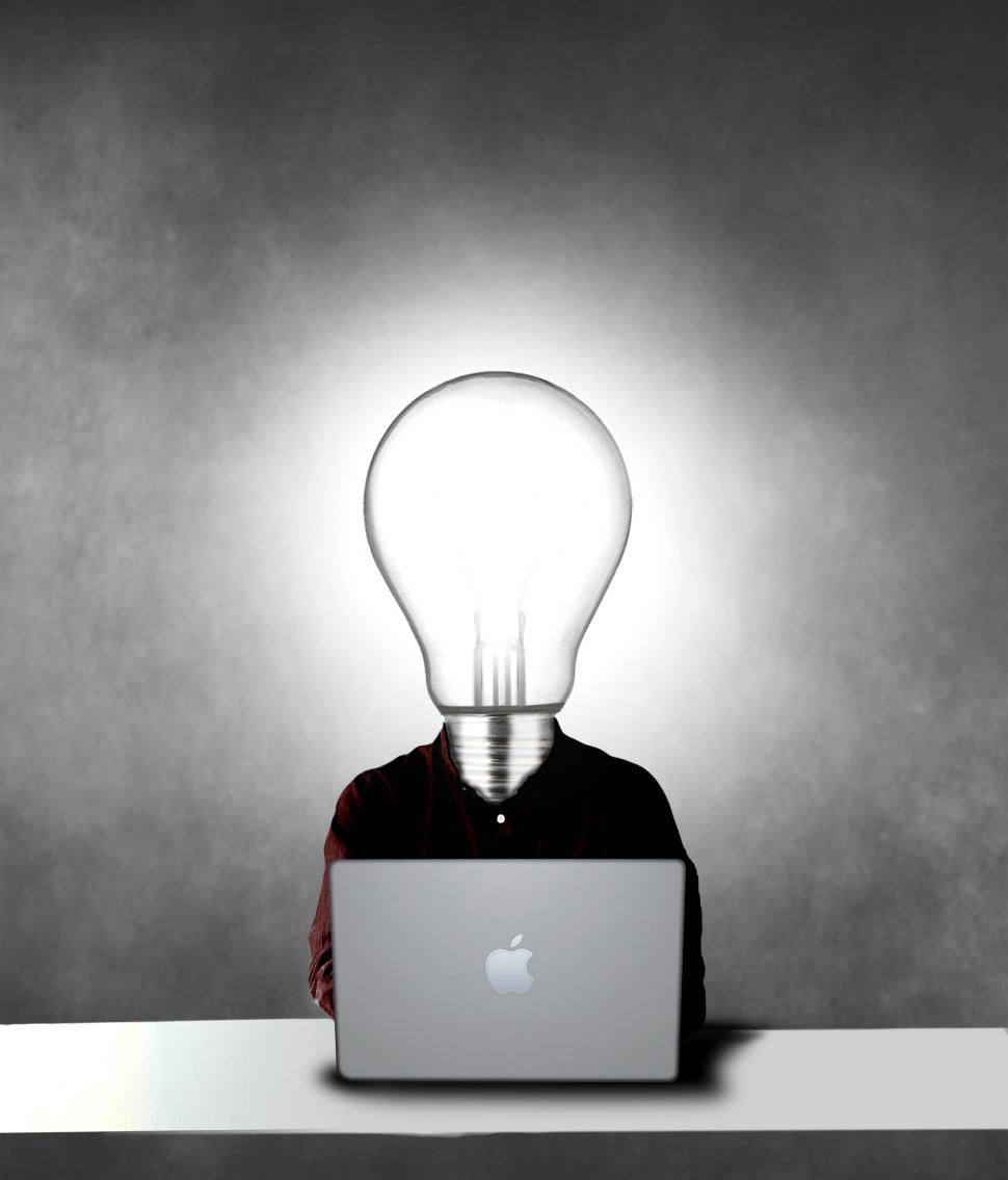 Download Free Stock Photo of Lightbulb headed man being creative