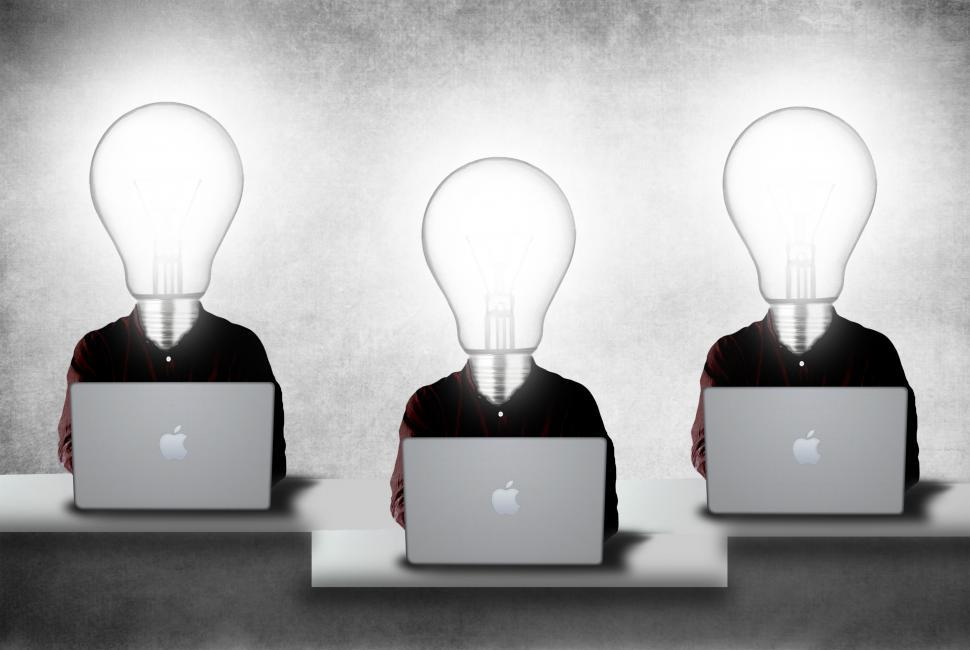 Download Free Stock HD Photo of Creative team with lightbulb heads Online