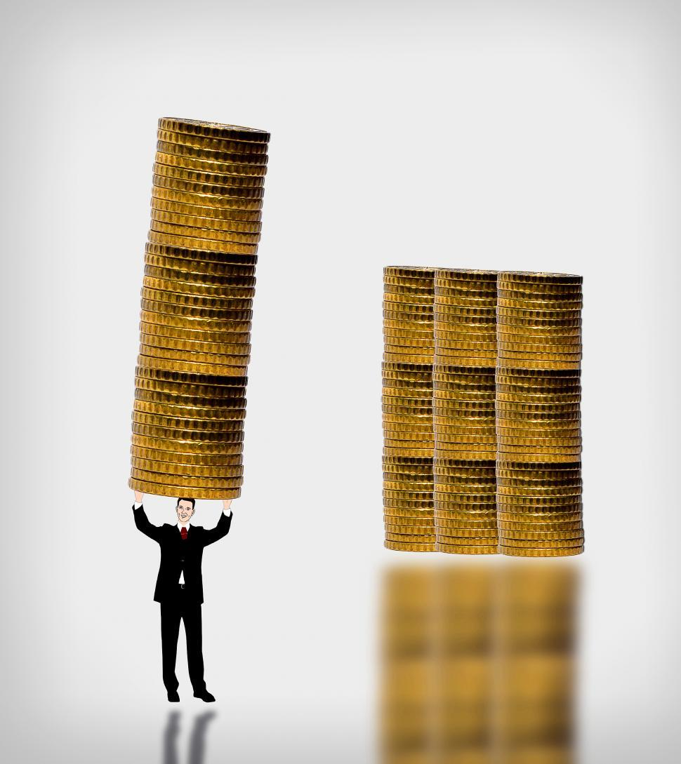 Download Free Stock HD Photo of Businessman carrying a gold coin stack - Accumulation of capital Online