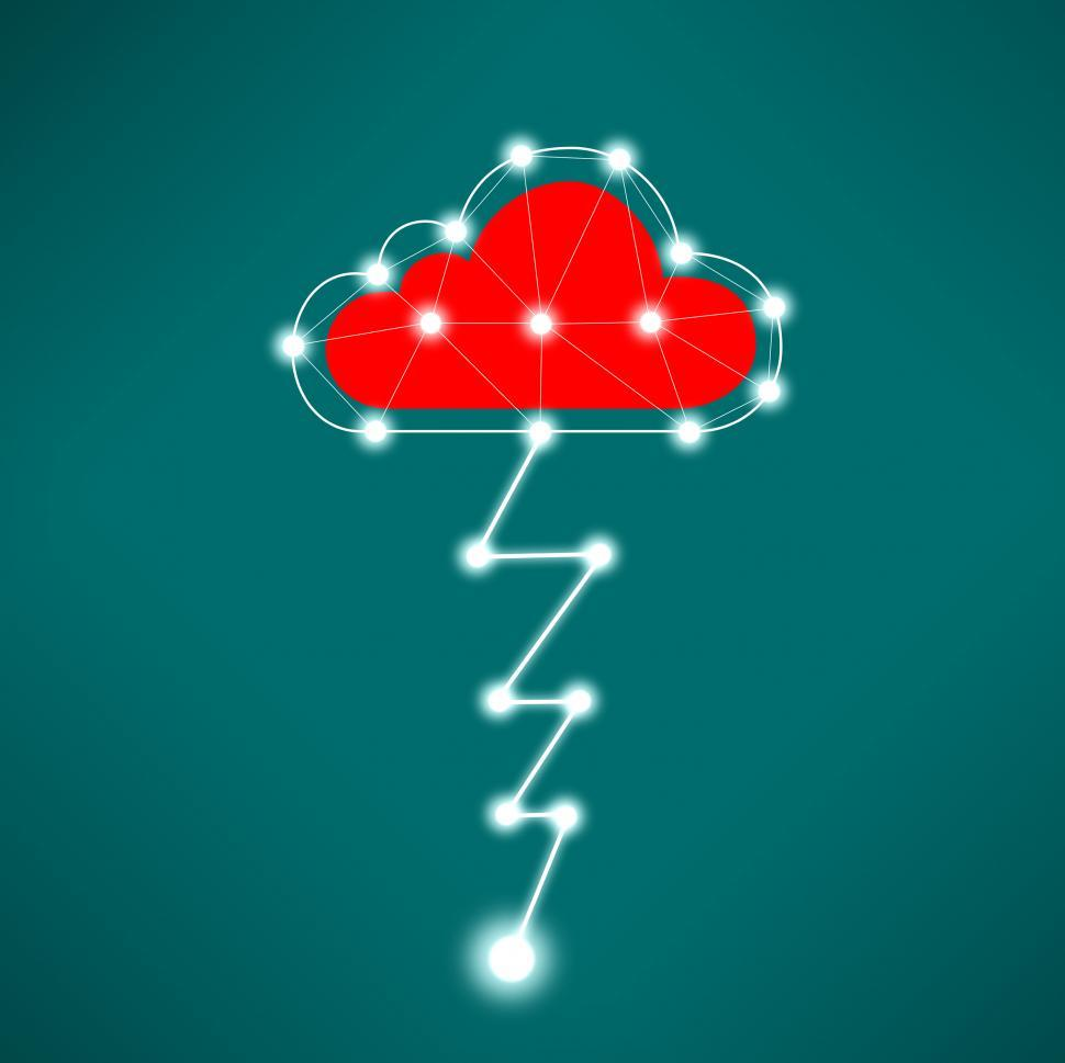 Download Free Stock Photo of Digital Cloud Concept with Lightning Bolt