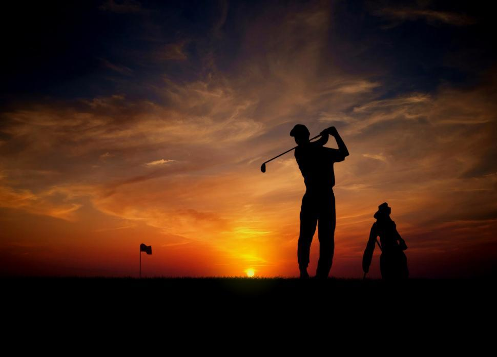 Download Free Stock Photo of Golfer at sunset