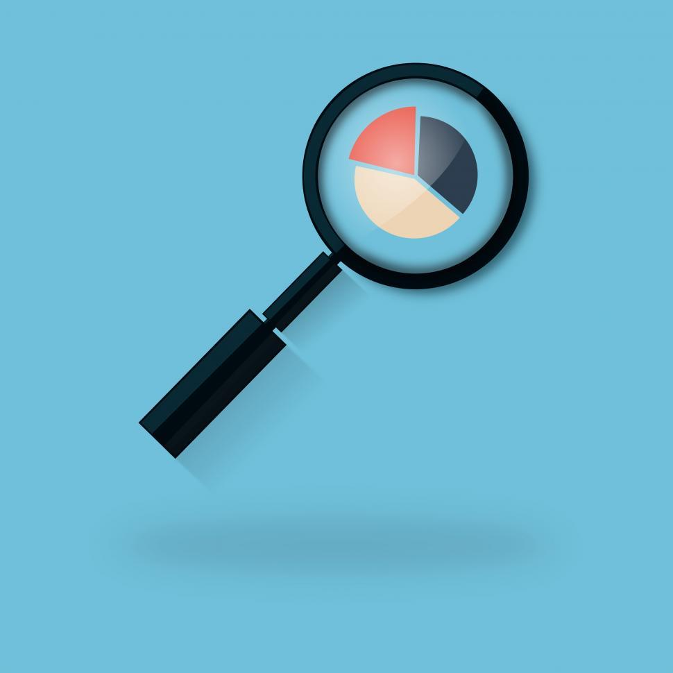 Download Free Stock Photo of Analyzing a Pie Chart with a Magnifying Glass