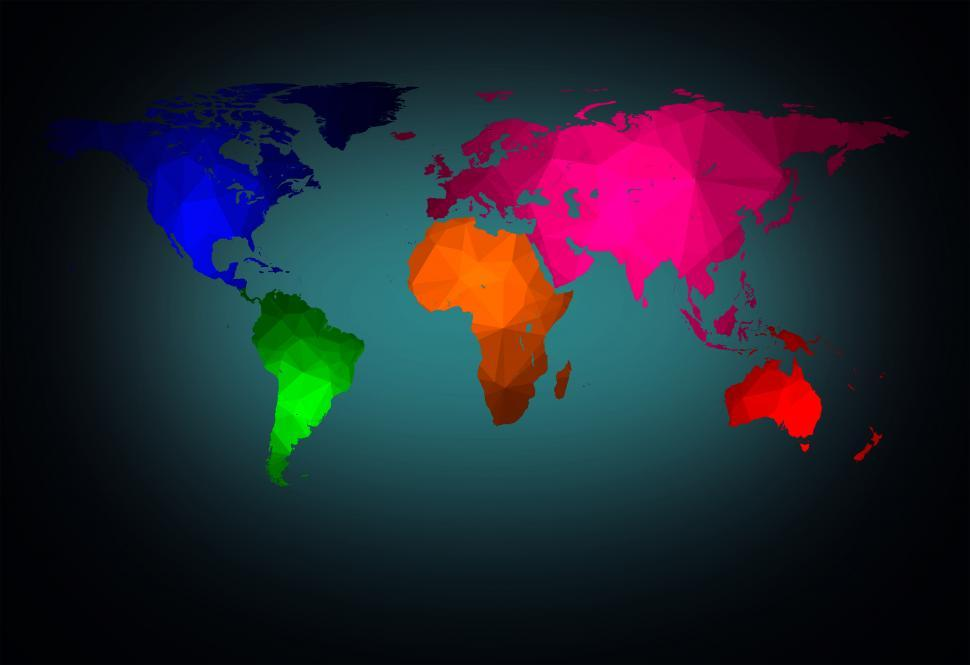 Download Free Stock Photo of World map with modern triangle pattern - Color-coded Continents