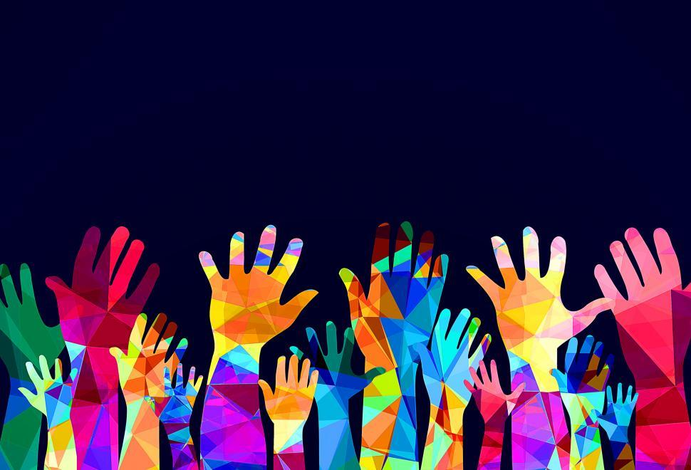 Download Free Stock Photo of Colorful hands up - happiness or help concept