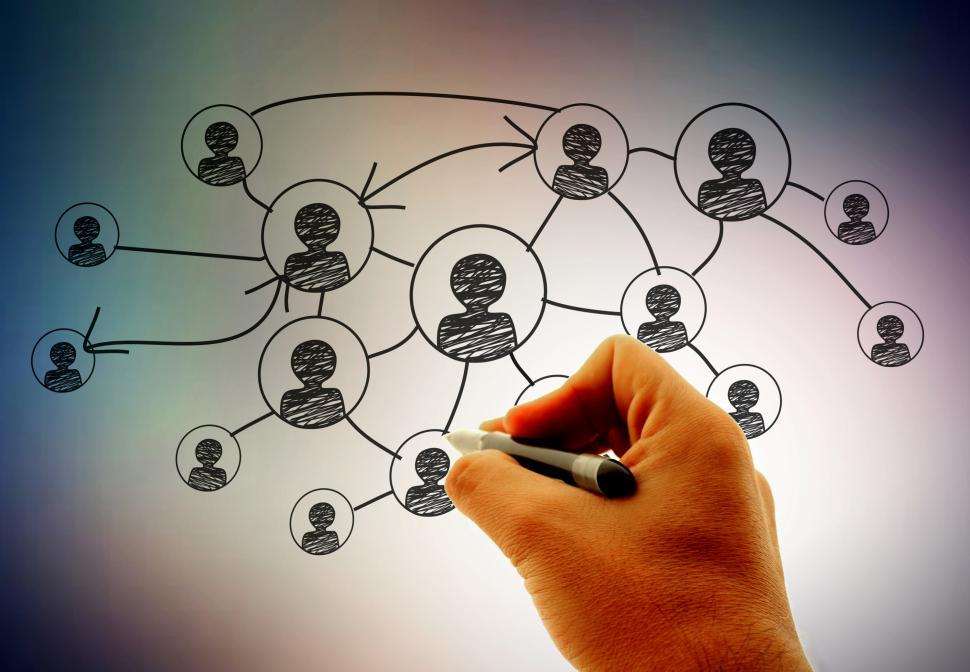 Download Free Stock Photo of Businessman  Hand drawing social network
