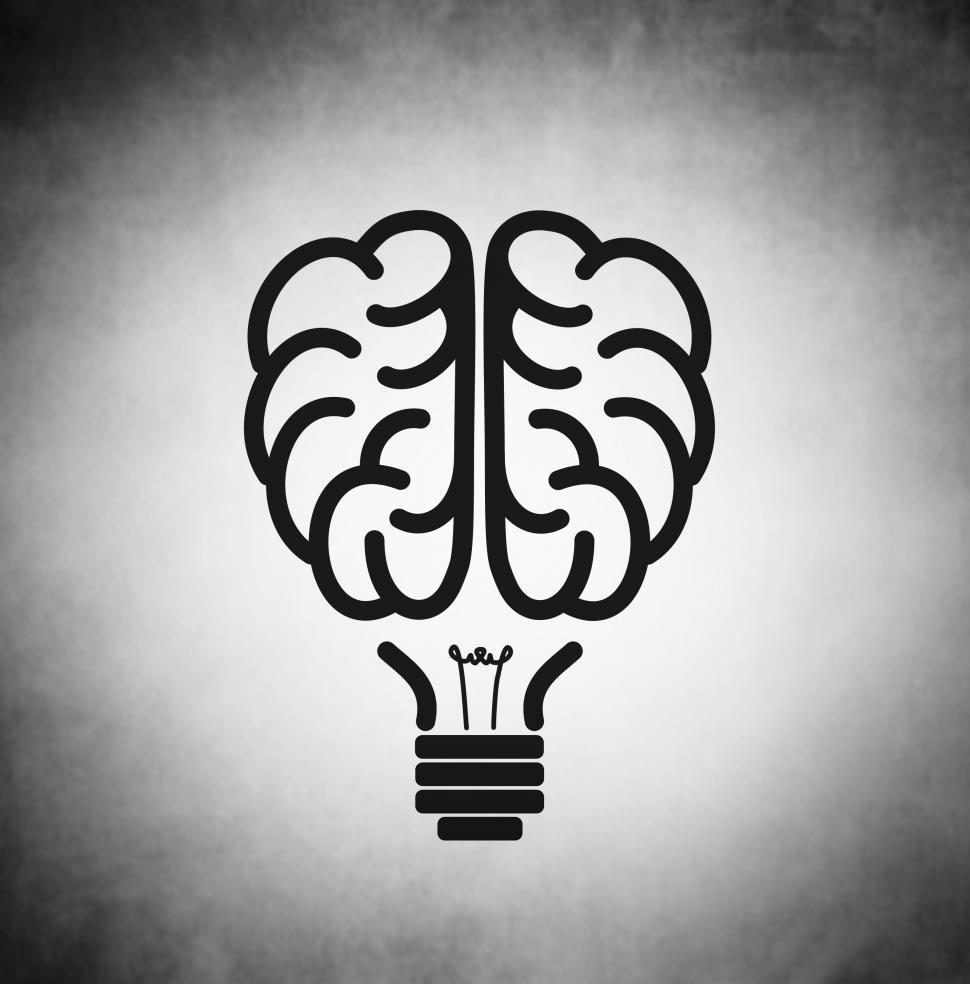 Download Free Stock Photo of Brain as black lightbulb - Creativity concept