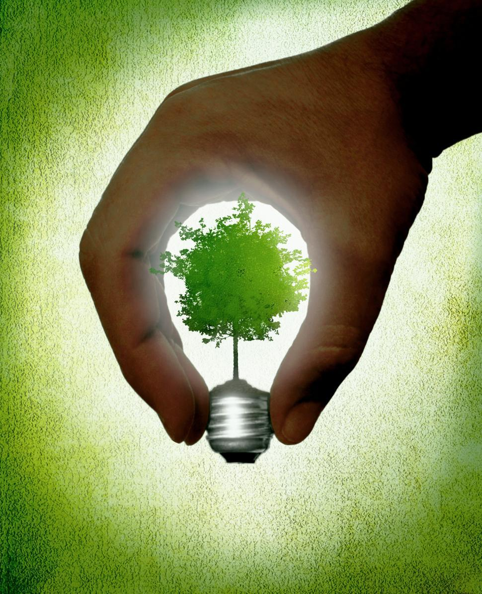 Download Free Stock HD Photo of Hand creating a lightbulb with green tree - Ecology and life con Online