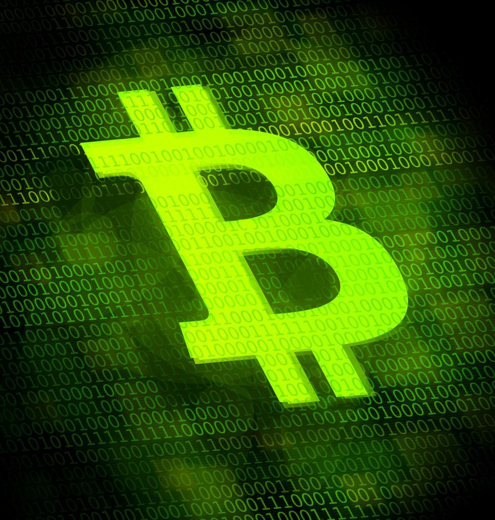 Download Free Stock Photo of Bitcoin logo on digital screen - Virtual currency illustration