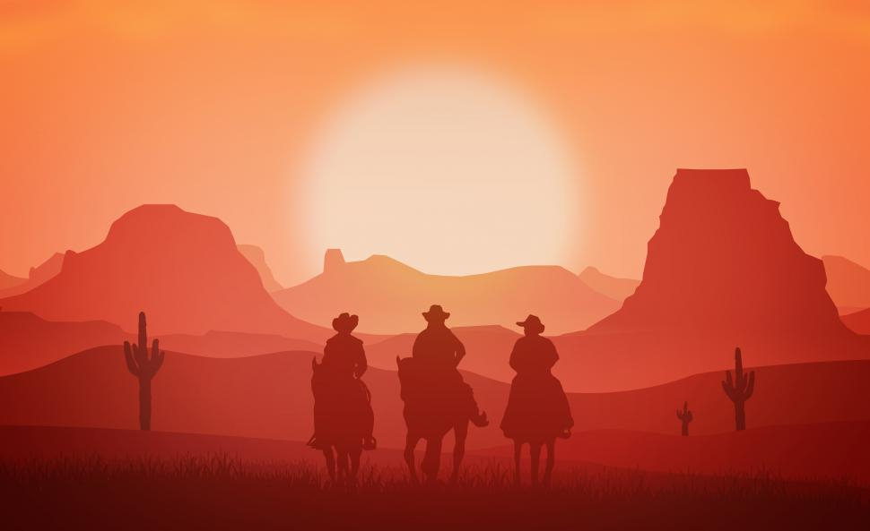 Download Free Stock Photo of Cowboys riding horses at sunset - Western and Wild West concept