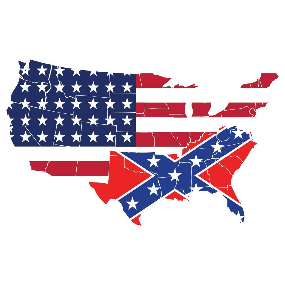 Download Free Stock Photo of United States with southern states as Confederate flag