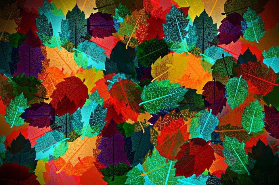 Download Free Stock Photo of Colorful autumn leaves pattern - Illustration