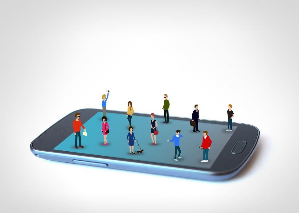 Download Free Stock HD Photo of Little people on the phone - Addicted to the phone Online