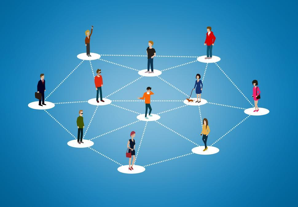Download Free Stock Photo of The social network - People networking and creating bonds, conta