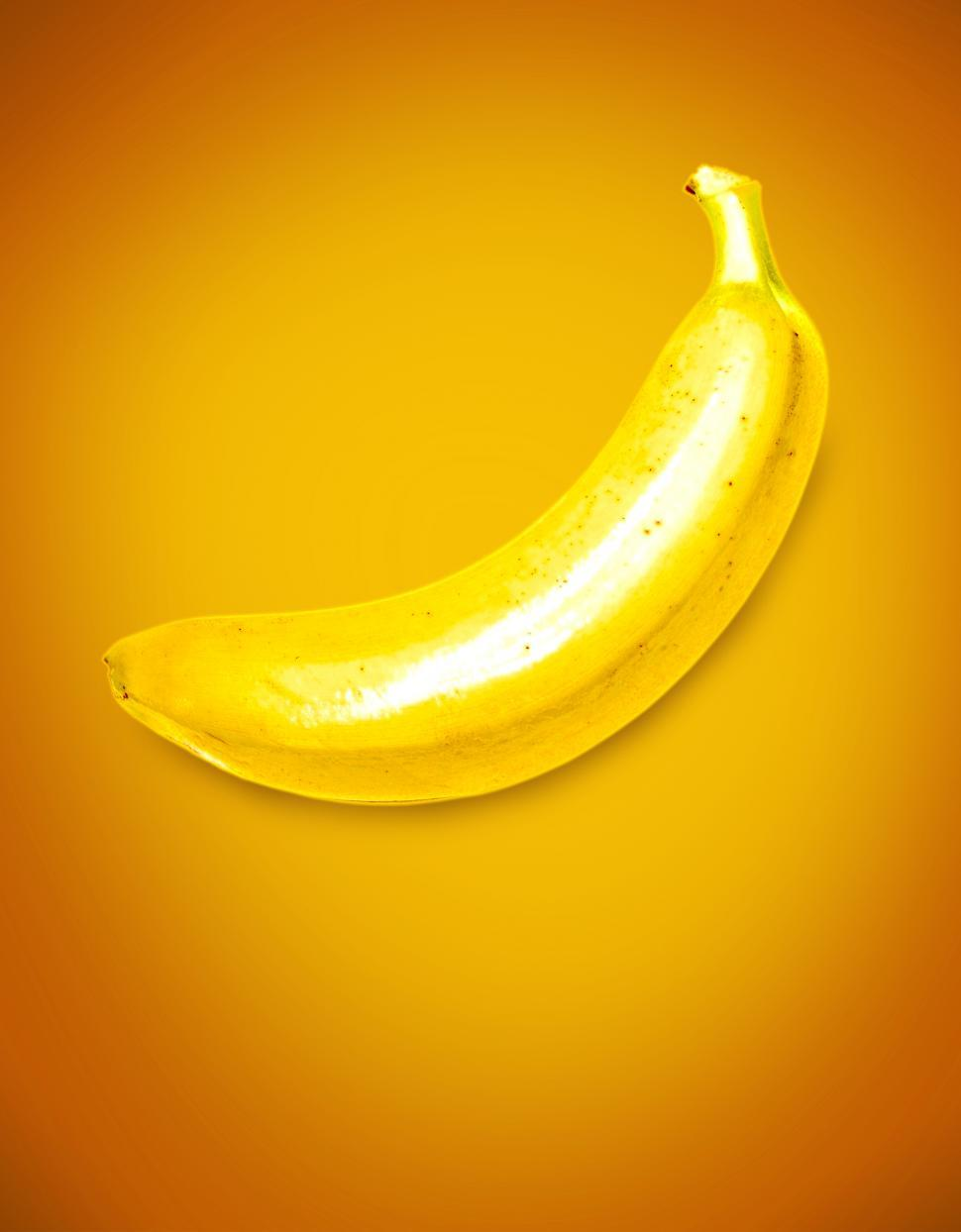 Download Free Stock Photo of Yellow Banana on Yellow Background