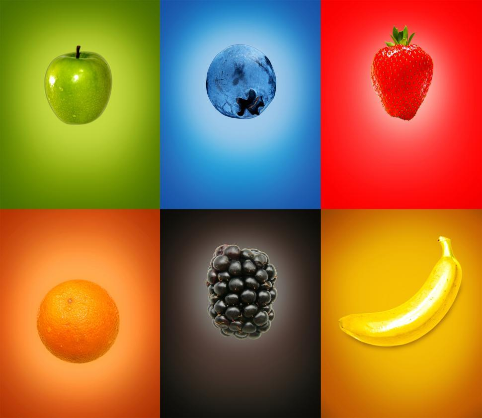 Download Free Stock HD Photo of Colorful tasty fresh fruits on multicolor background Online