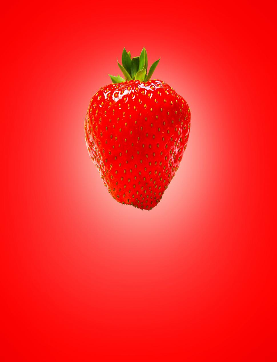 Download Free Stock Photo of Red Strawberry on Red Background