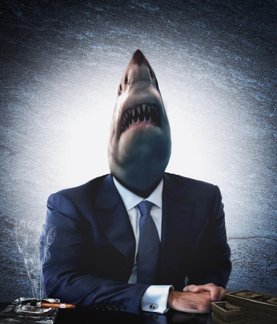 Download Free Stock Photo of Greedy businessman as a shark