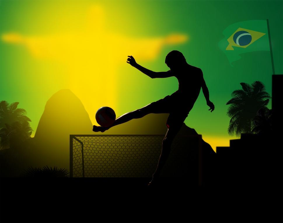 Download Free Stock Photo of Illustration of a kid playing soccer in Rio de Janeiro - Brazil