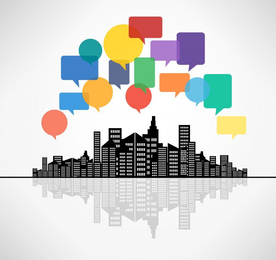 Download Free Stock HD Photo of Speech bubbles above the city - Modern communication concept Online