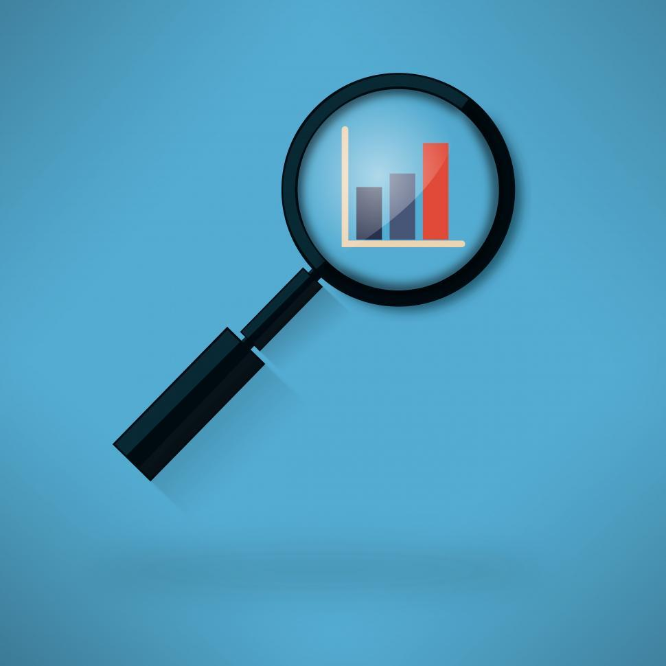Download Free Stock Photo of Analyzing histogram with magnifying glass