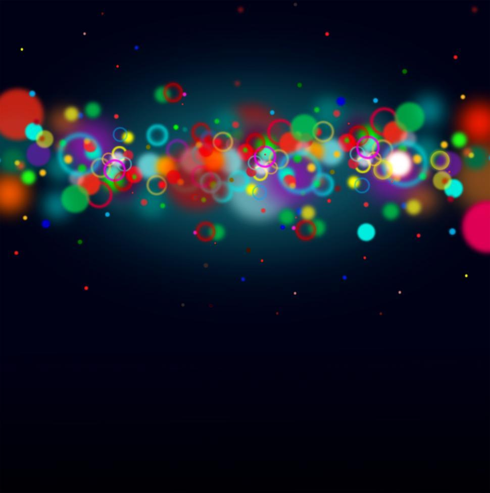Download Free Stock HD Photo of Colorful bokeh on dark blue background with copyspace Online