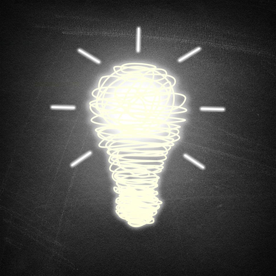 Download Free Stock Photo of Lightbulb idea on chalkboard background