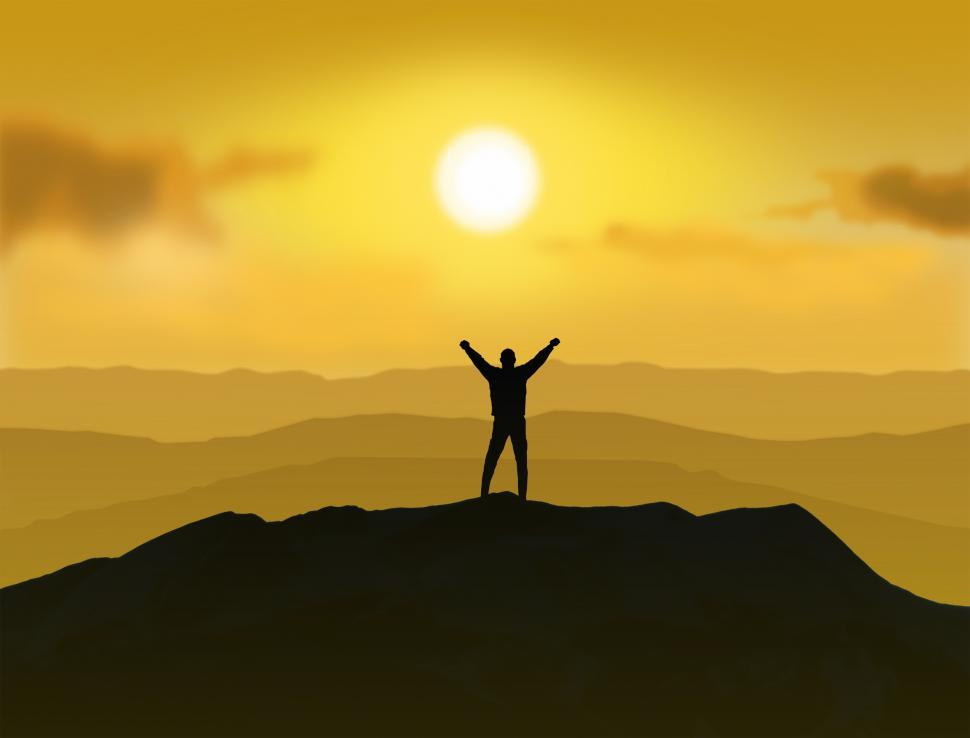 Download Free Stock HD Photo of Victorious - Man standing on the top of a mountain raising  Online